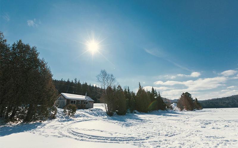 Chalets en hiver lac - Pourvoirie du Lac Croche Saint-Côme - Lanaudière