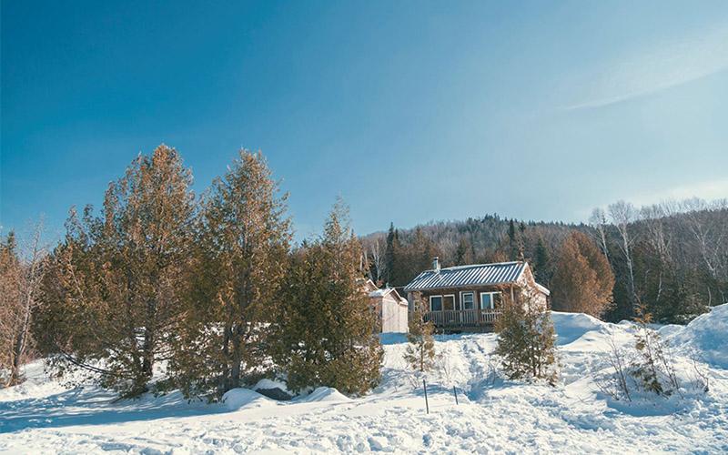 Chalets en hiver2 - Pourvoirie du Lac Croche Saint-Côme - Lanaudière